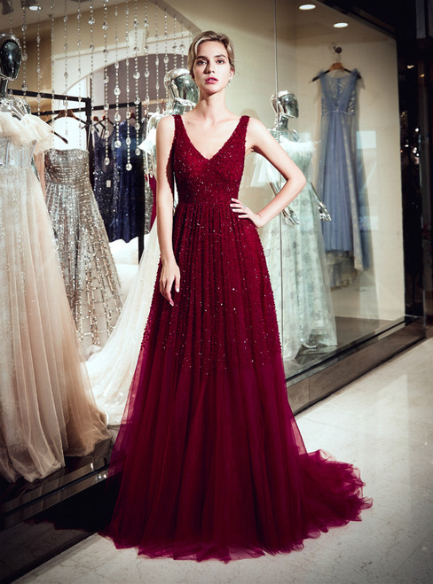 Burgundy Tulle Deep V-neck Backless Prom Dress With Beading