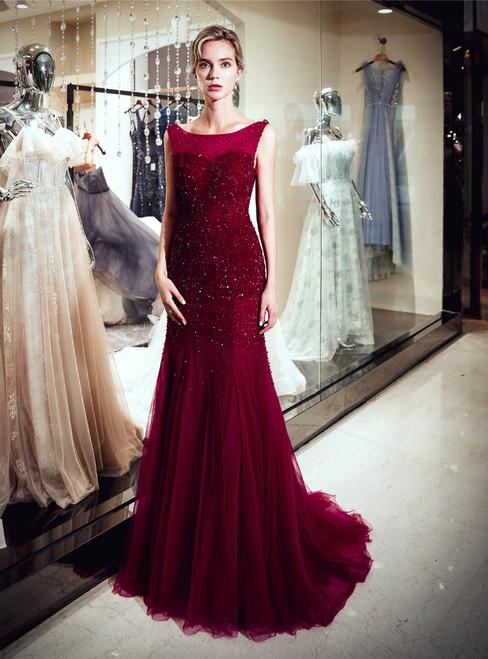 Burgundy Meramid Bateau Backless Tulle Sequins Prom Dress