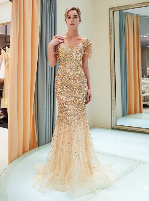 Champagne Tulle Off The Shoulder Sequins Floor Length Prom Dress