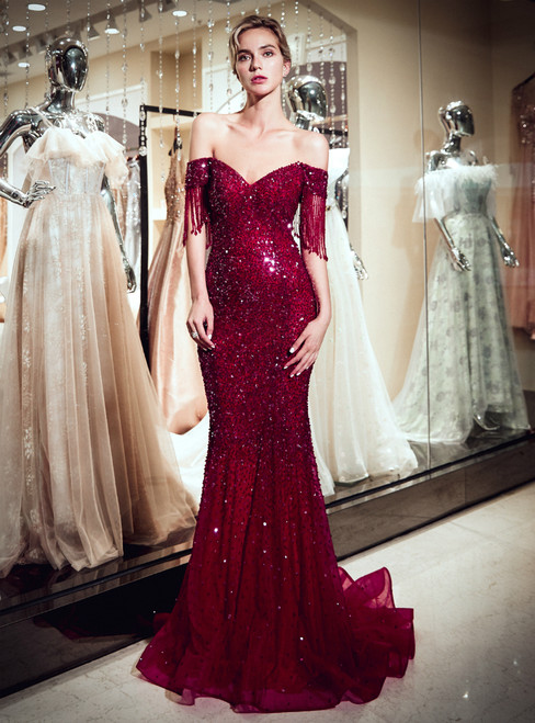Burgundy Tulle Off The Shoulder Sequins Floor Length Prom Dress