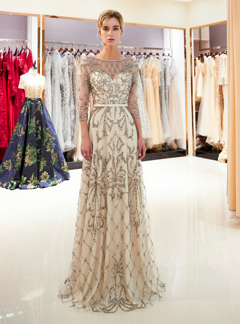 Light Champagne See Through Tulle Sequins 3/4 Sleeve Prom Dress