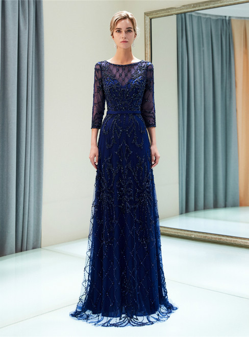 Blue See Through Tulle Sequins 3/4 Sleeve Floor Length Prom Dress