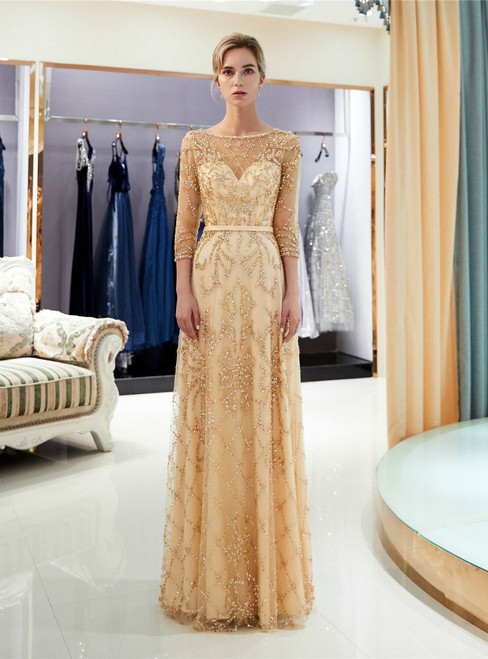 Champagne See Through Tulle Sequins 3/4 Sleeve Prom Dress