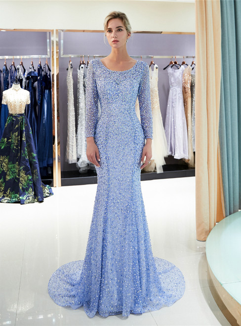 Blue Tulle Sequins Mermaid Backless Long Sleeve Prom Dress