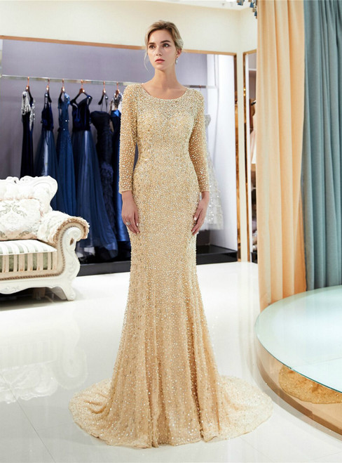 Champagne Tulle Sequins Mermaid Backless Long Sleeve Prom Dress