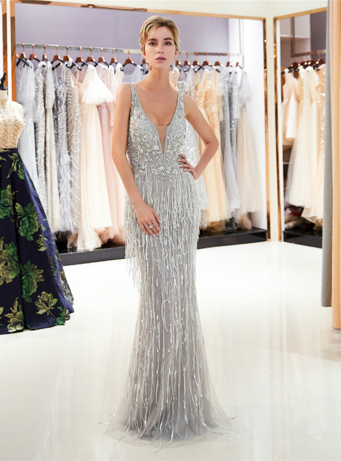 Silver Gray Mermaid Tulle Sequins V-neck Backless Prom Dress