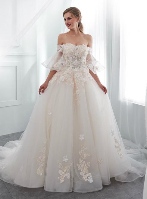 Light Champagne Tulle Off The Shoulder Appliques Wedding Dress