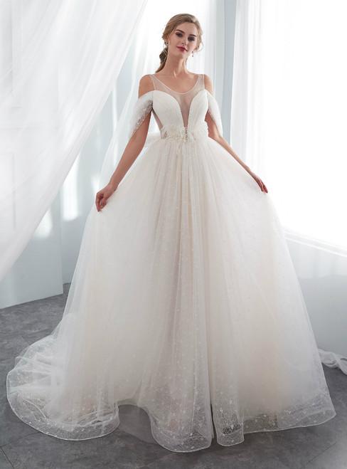 Simple Ivory Tulle Cold Shoulder Backless Fheather Wedding Dress