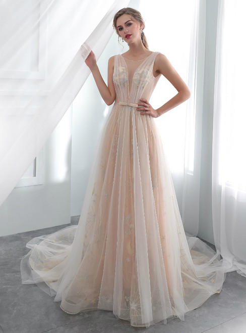 Champagne Tulle See Through Backless Print Wedding Dress