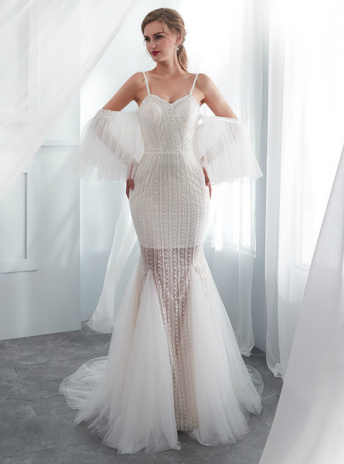 Ivory Tulle Mermaid Spaghetti Straps Wedding Dress With Beading