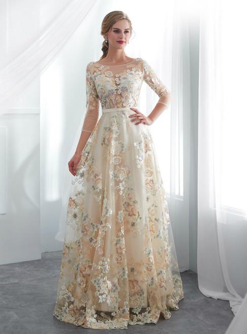 Simple Champagne Tulle 3/4 Sleeve Print Floor Length Wedding Dress