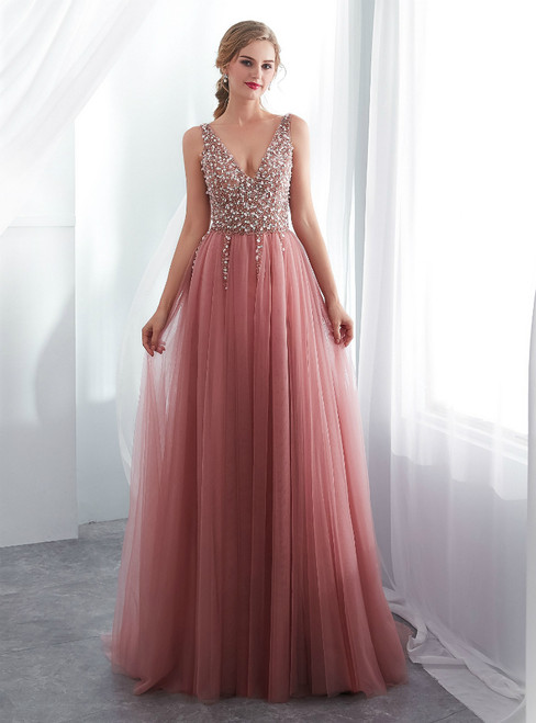Pink Tulle Deep V-neck Backless Prom Dress With Beading