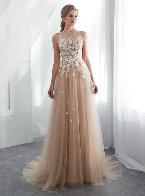 Cheap Champagne Tulle See Through Floor Length Wedding Dress