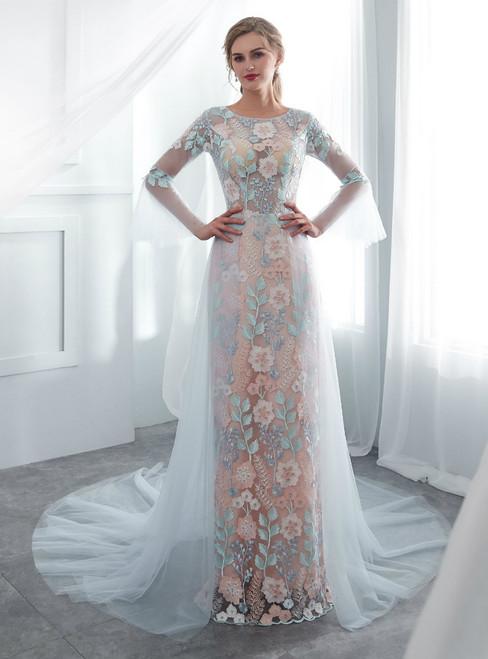 Blue Tulle Lace Mermaid Long Sleeve Appliques Wedding Dress