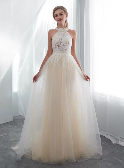 A-Line Champagne Tulle Halter Appliques Floor Length Wedding Dress