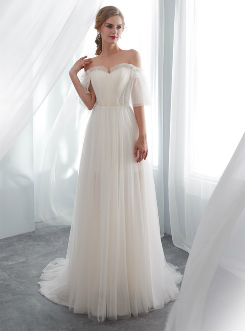 Light Champagne Tulle Off The Shoulder Floor Length Wedding Dress