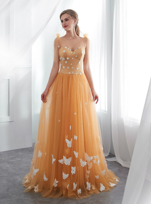 A-Line Orange Tulle Straps Backless Wedding Dress With Butterfly