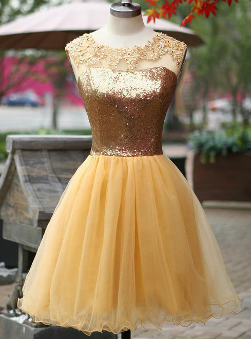 Stunning Gold Homecoming Dresses Sequin Applique