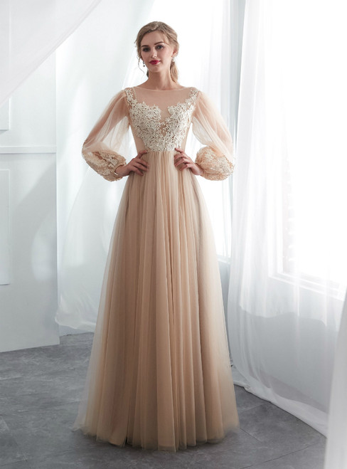 Dark Champagne Tulle Long Sleeve Appliques Wedding Dress