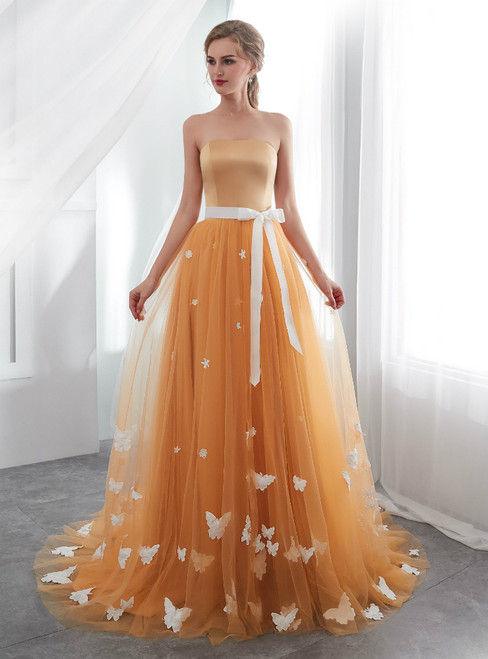 Orange Tulle Strapless Neck Floor Length Wedding Dress With Butterfly
