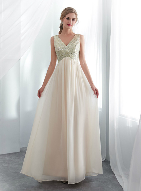 A-Line Champagne Chiffon Sequins V-neck Backless Prom Dress