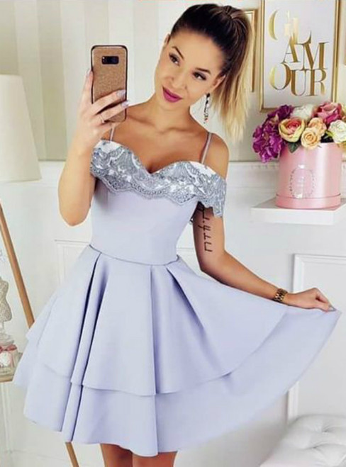 A Line Women Short Satin Spaghetti Straps Homecoming Dress