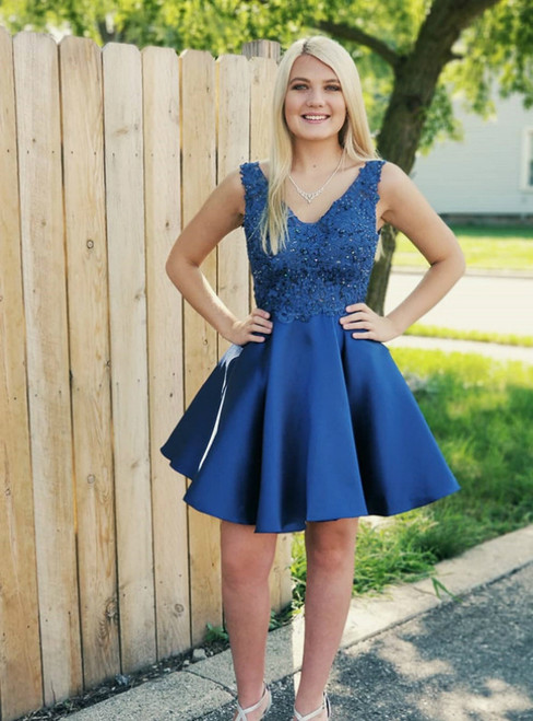 A-line Satin V-neck Neckline Backless Homecoming Dresses
