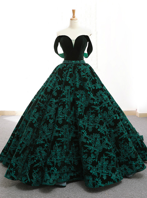 Vintage Green Lace Ball Gown Off The Shoulder Backless Wedding Dress