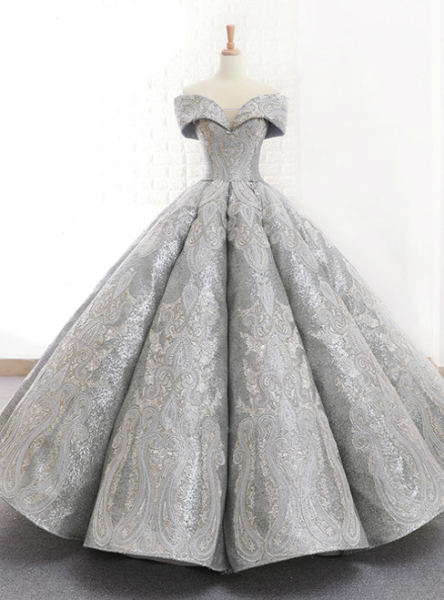 c5ec8ee10419 Silver Ball Gown Sequins Off The Shoulder Backless Wedding Dress