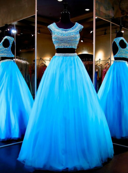 Sparking Blue Party Dresses Two Pieces Scoop Pearls Beaded