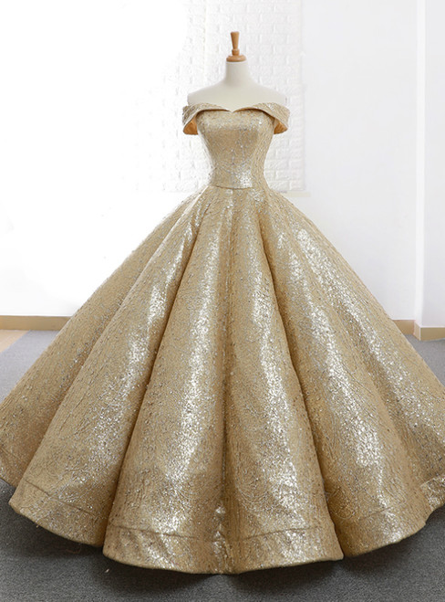 Gold Ball Gown Sequins Off The Shoulder Appliques Wedding Dress