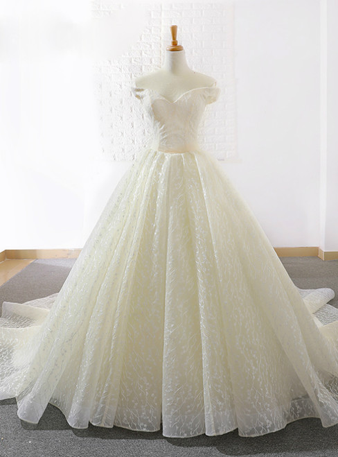 Light Champagne Tulle Off The Shoulder Train Wedding Dress