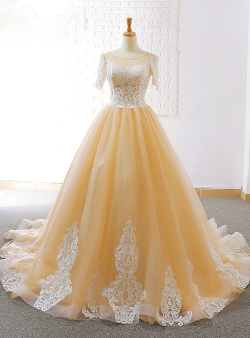 Champagne Tulle Lace Appliques Short Sleeve Backless Wedding Dress