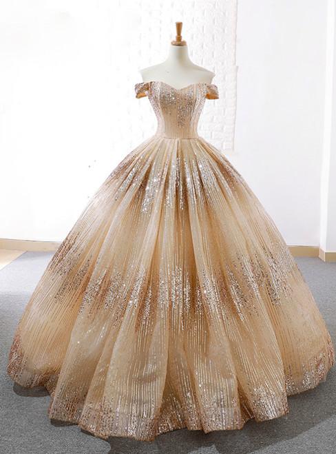 Gold Ball Gown Off The Shoulder Sequins Floor Length Wedding Dress