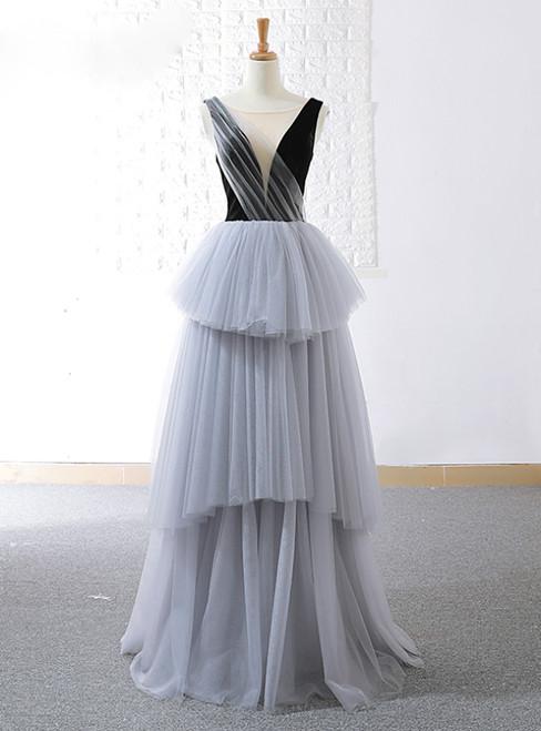 A-Line Gray Tulle Black Velvet Bateau Backless Prom Dress