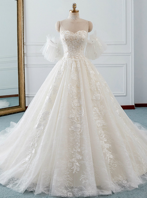 Ivory Ball Gown Tulle Sweetheart Neck Appliques Wedding Dress
