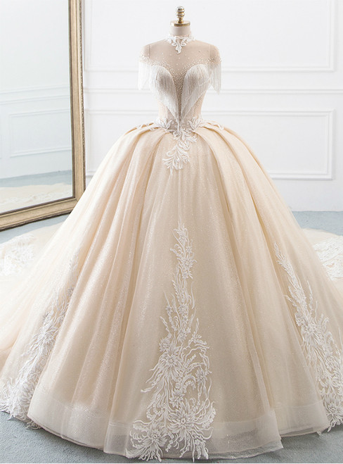 Chammpagne Ball Gown Tulle Sequins High Neck Backless Wedding Dress