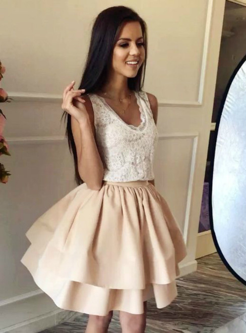 ba20e0376d9 A-Line Champagne Lace Satin V-neck Short Homecoming Dress