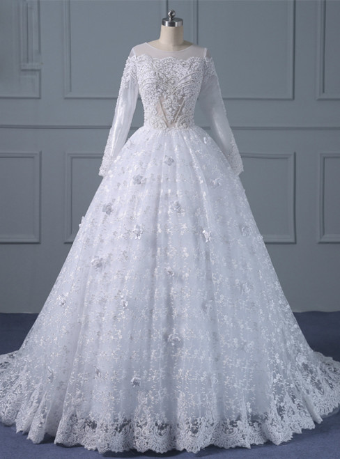 White Ball Gown Long Sleeve Lace Appliques With Beading Wedding Dress