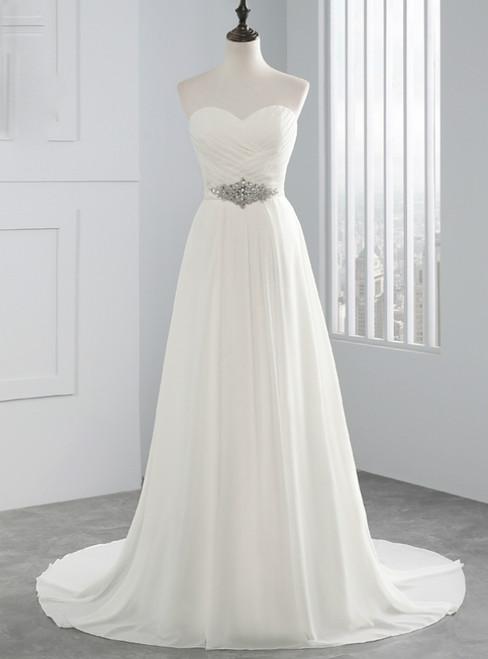 White Chiffon Sweetheart Neck Pleats  Weddign Dress With Crystal
