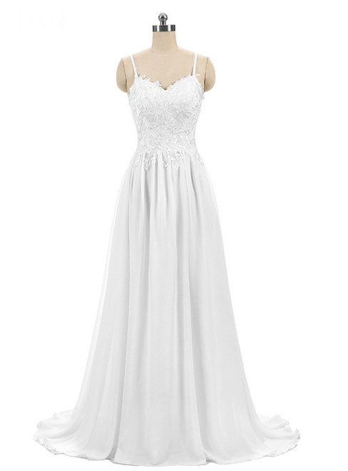 Cheap Bride Marry Dress White Chiffon Embroidery Wedding Dress
