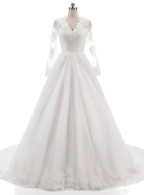 Long Sleeves V Neckline Backless Lace Appliques Wedding Gowns