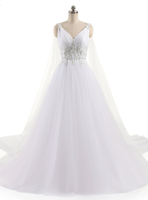 A-Line Sexy V Neck Custom Made Beaded Appliques Wedding Dress