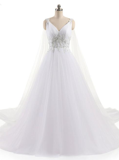 A-Line Sexy V Neck Custom Made Beaded Appliques Wedding Dress