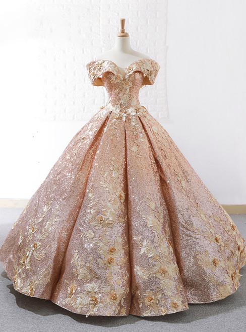 Luxury Gold Ball Gown Sequins Off The Shoulder Appliques Wedding Dress