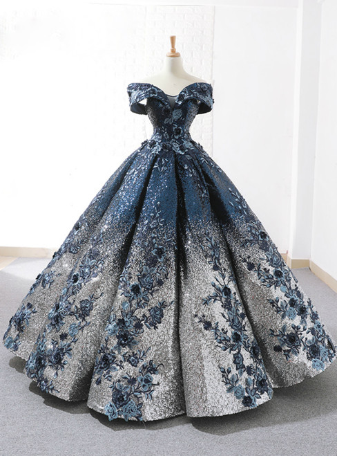 Blue Ball Gown Sequins Off The Shoulder Appliques Floor Length Wedding Dress