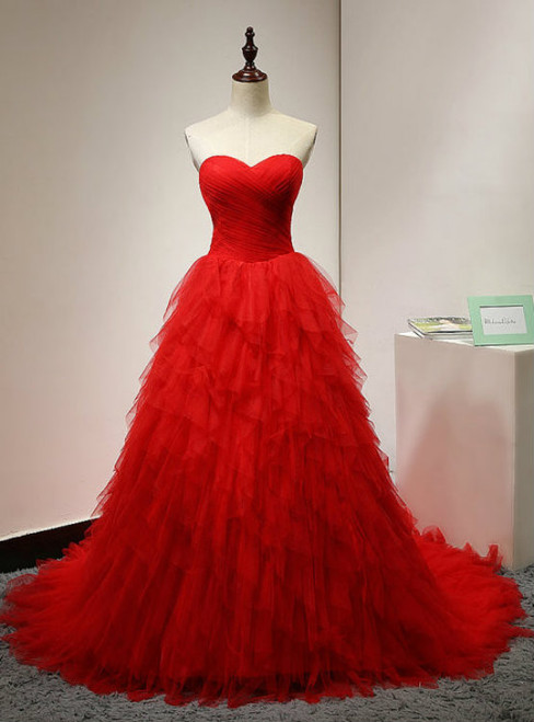 Princess Red Quinceanera Dresses Sweetheart Sweep Layered