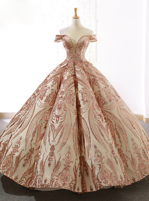 Luxury Champagne Gold Sequins Ball Gown Off The Shoulder Prom Dress