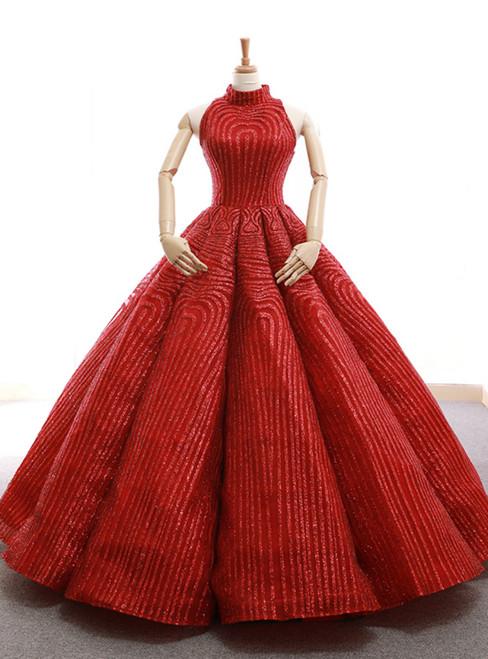 Red Ball Gown Sequins High Neck Backless Wedding Dress
