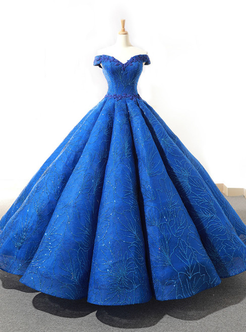 Blue Ball Gown Sequisn Appliques Off The Shoulder Wedding Dress